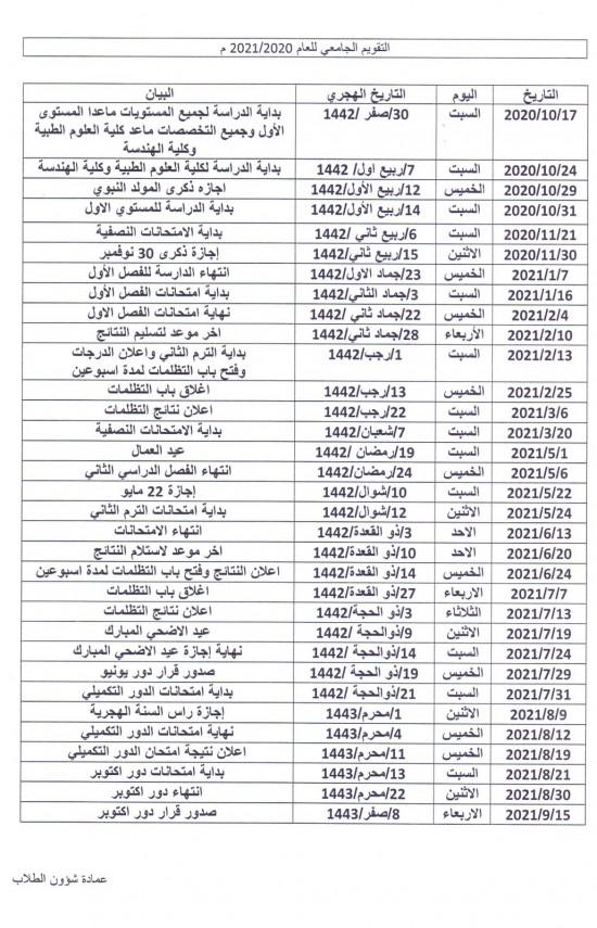 التقويم الجامعي للعام الدراسي 2021/2020م