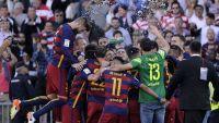 شاهد صورا لاحتفال برشلونة بفوزه بالدوري الاسباني