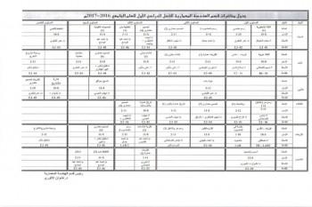 جدول المحاضرات الدراسية للعام 2016-2017 كلية الهندسه وعلوم الحاسوب (قسم االمعماري)
