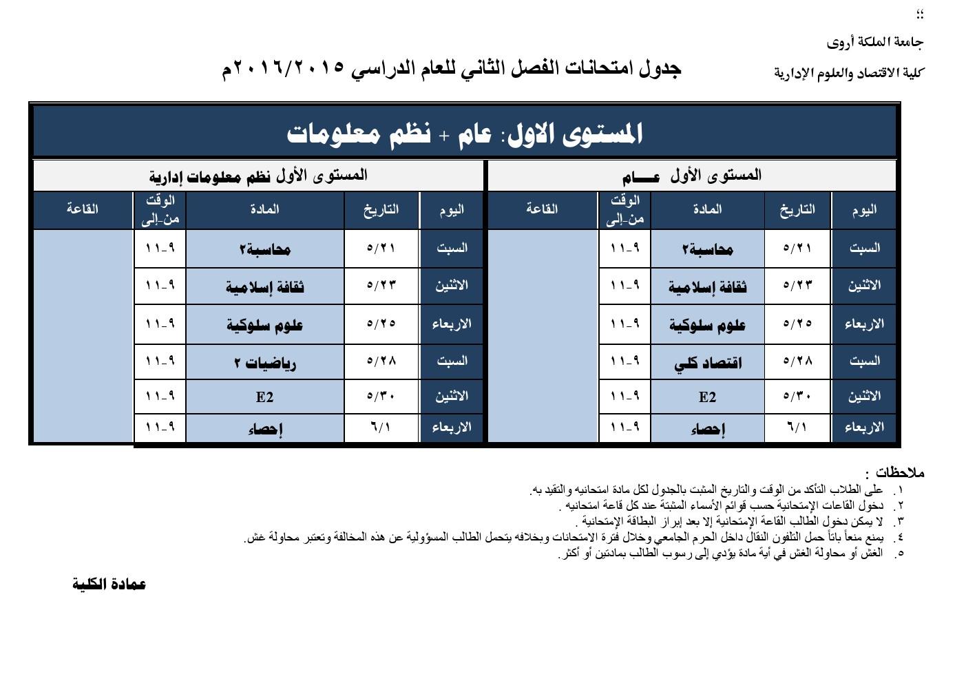 كلية التجارة - جدول امتحانات الفصل الدراسي الثاني للعام 2015-2016